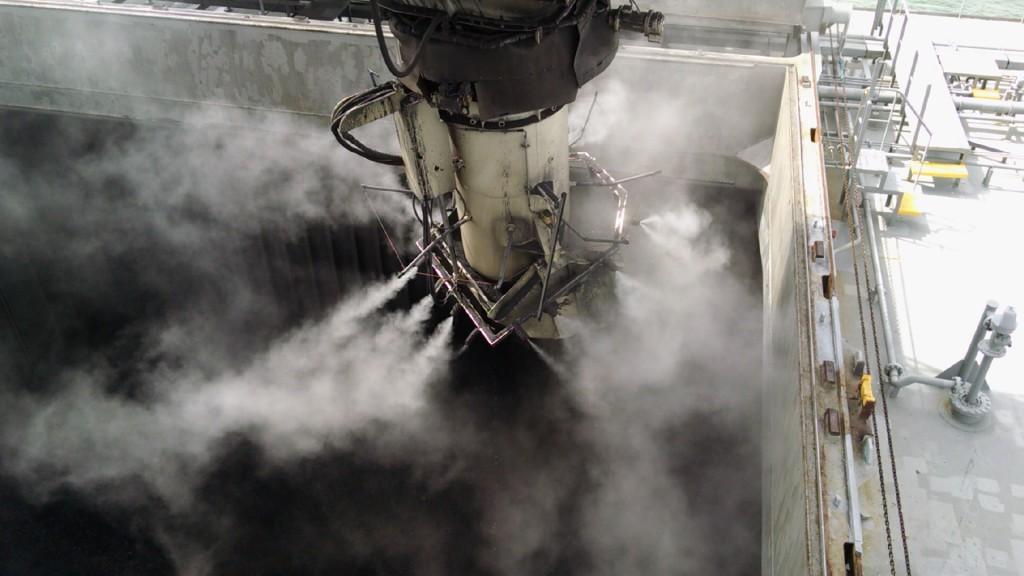 Пылеподавление и воздухоочистка при погрузке кораблей и барж